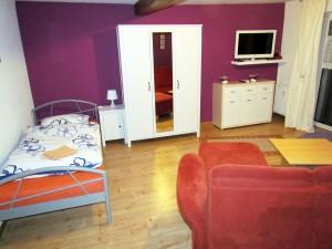 großes Wohnzimmer mit einzelnem Bett
